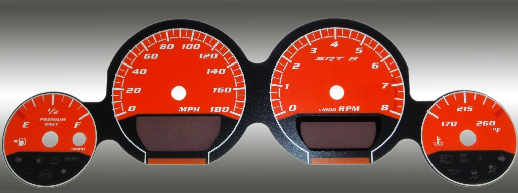 Dodge Charger 2005-2009 Srt8 Orange / Orange Night Performance Dash Gauges
