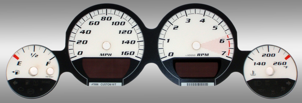 Dodge Magnum 2005-2009 Rt White / White Night Performance Dash Gauges
