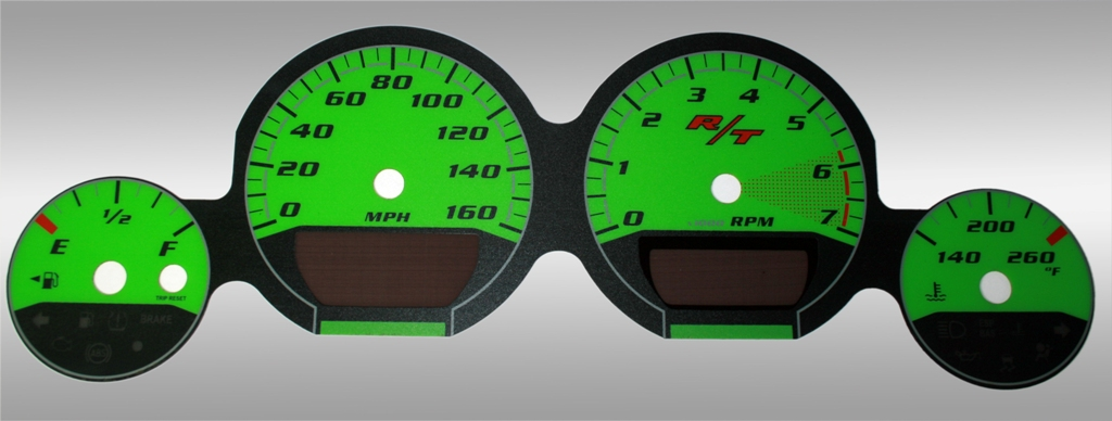Dodge Challenger 2009-2009 Rt Green / Green Night Performance Dash Gauges
