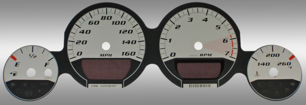 Dodge Magnum 2005-2009 Rt Silver / Silver Night Performance Dash Gauges