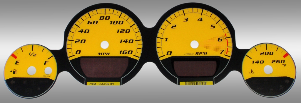 Dodge Magnum 2005-2009 Rt Yellow / Yellow Night Performance Dash Gauges