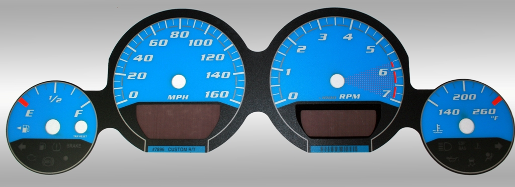 Dodge Charger 2005-2009 Rt Blue / Blue Night Performance Dash Gauges