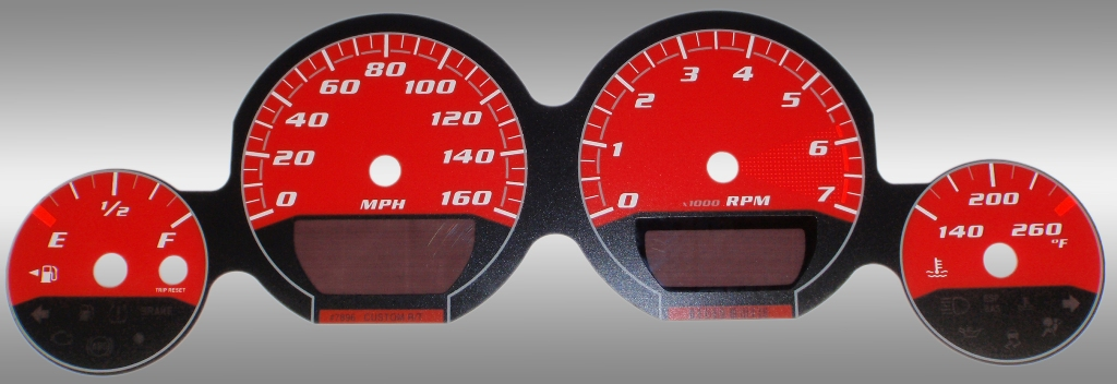 Dodge Challenger 2009-2009 Rt Red / Red Night Performance Dash Gauges