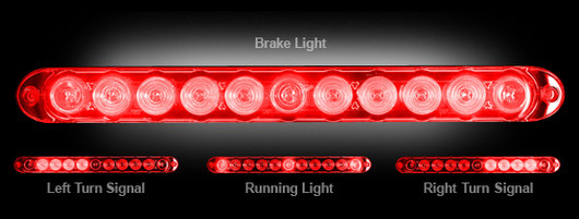 GMC Sierra Light Duty & Heavy Duty Mini LED RED Tailgate Bar 15""