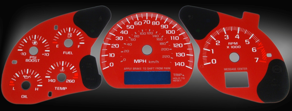 Chevrolet Monte Carlo 2000-2005  Red / Blue Night Performance Dash Gauges