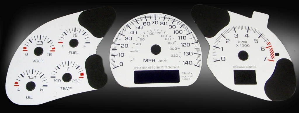 Chevrolet Impala 2000-2005  White / Blue Night Performance Dash Gauges