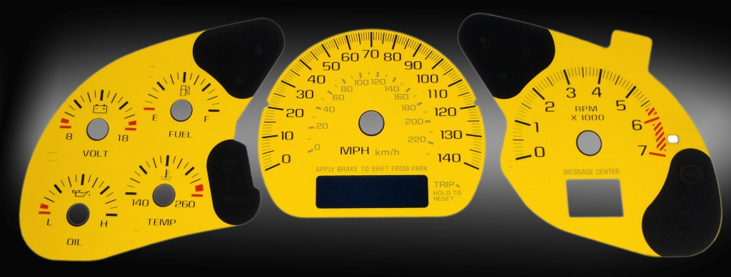 Chevrolet Monte Carlo 2000-2005  Yellow / Blue Night Performance Dash Gauges