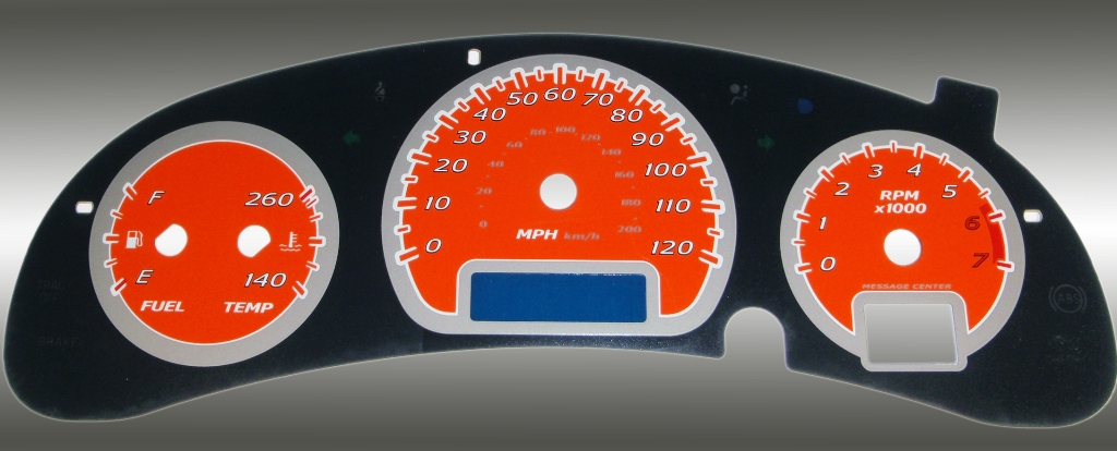 Chevrolet Monte Carlo 2000-2005  Orange / Blue Night Performance Dash Gauges