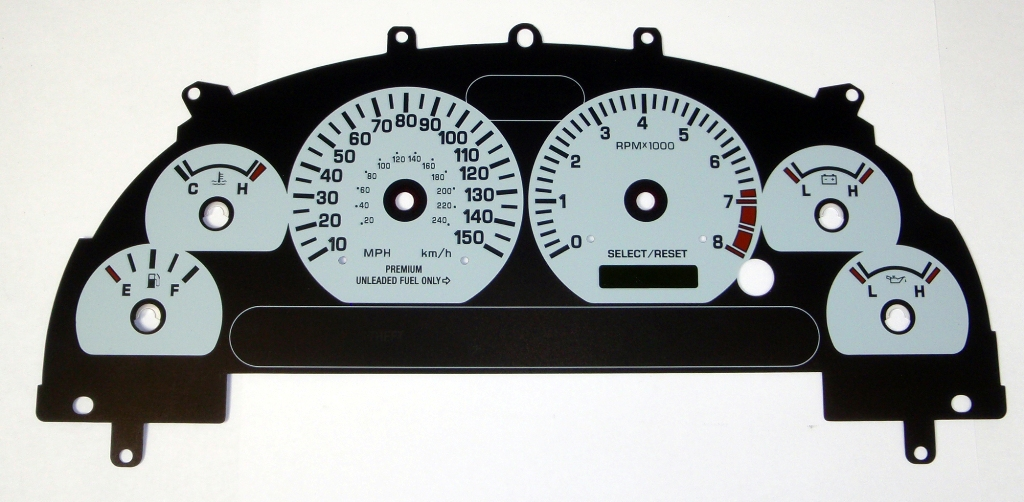 Ford Mustang 1999-2004 Gt White Performance Dash Gauges