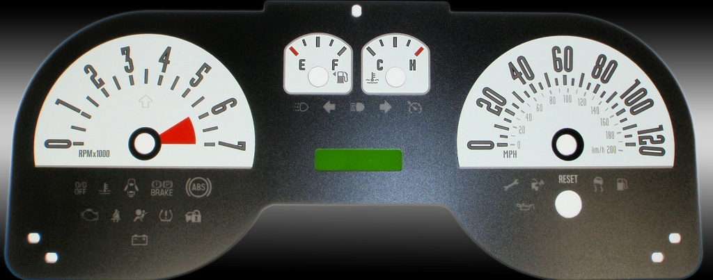 Ford Mustang 2005-2009 6 Cyl White Performance Dash Gauges