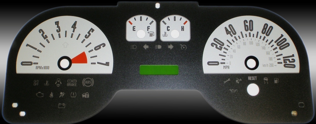 Ford Mustang 2005-2009 6 Cyl Silver Performance Dash Gauges