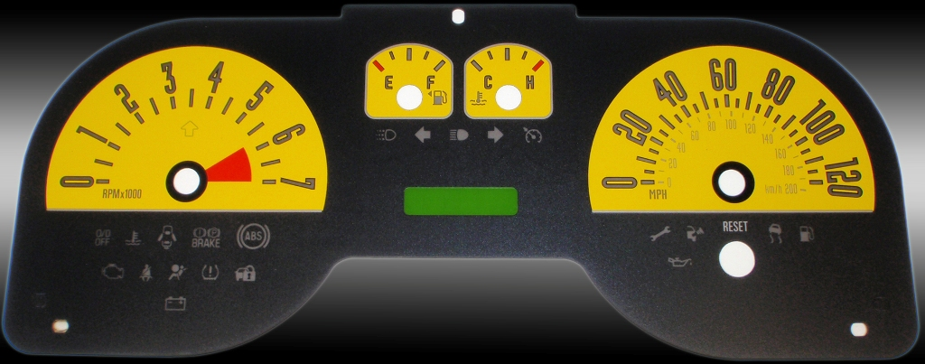 Ford Mustang 2005-2009 6 Cyl Yellow Performance Dash Gauges