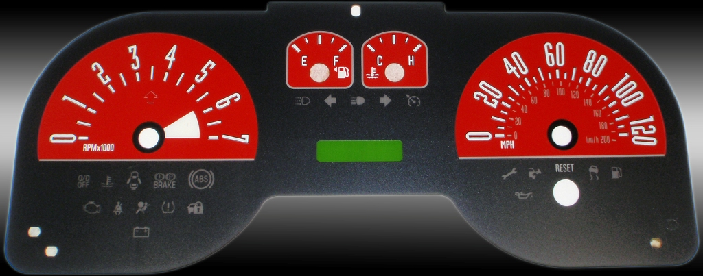 Ford Mustang 2005-2009 6 Cyl Red Performance Dash Gauges