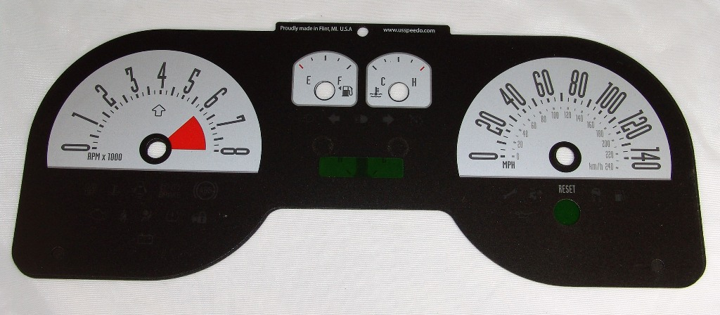 Ford Mustang 2005-2009 Gt Silver / Green Night Performance Dash Gauges