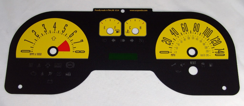 Ford Mustang 2005-2009 Gt Yellow / Green Night Performance Dash Gauges