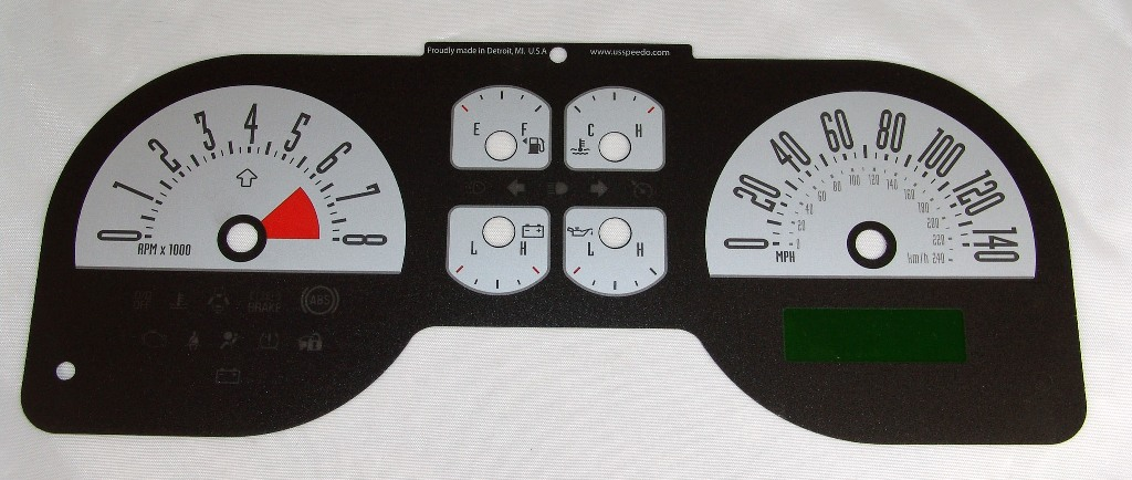 Ford Mustang 2005-2009 Gt Silver / My Color Performance Dash Gauges