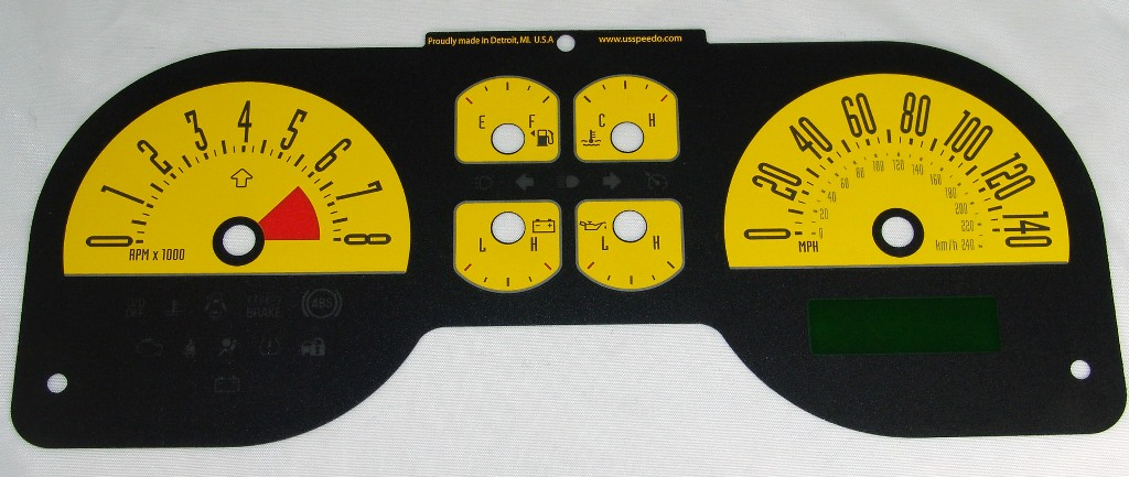 Ford Mustang 2005-2009 Gt Yellow / My Color Performance Dash Gauges