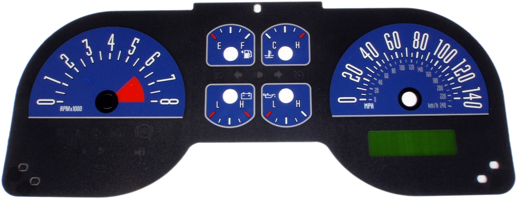 Ford Mustang 2005-2009 Gt Blue Performance Dash Gauges