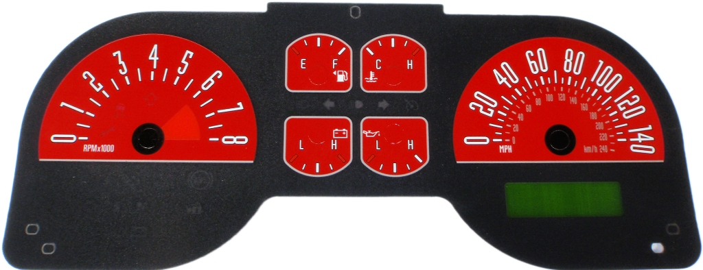 Ford Mustang 2005-2009 Gt Red Performance Dash Gauges