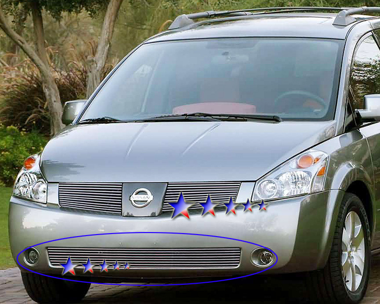 Nissan Quest  2004-2006 Polished Main Upper Aluminum Billet Grille