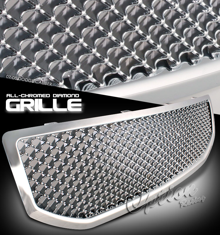 Dodge Caliber 2007-2008 One Piece Chrome Mesh Grill