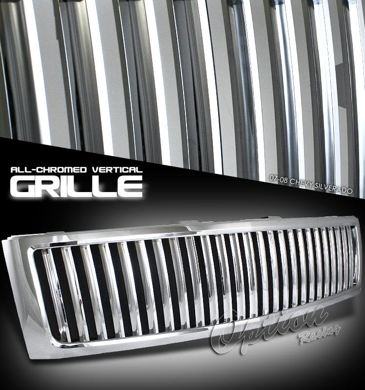 Chevrolet Silverado 2007-2008 Vertical Style Chrome Grill