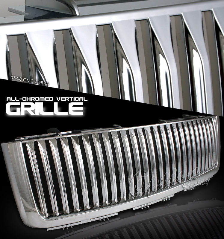 GMC Sierra 2007-2008 Vertical Style Chrome Grill