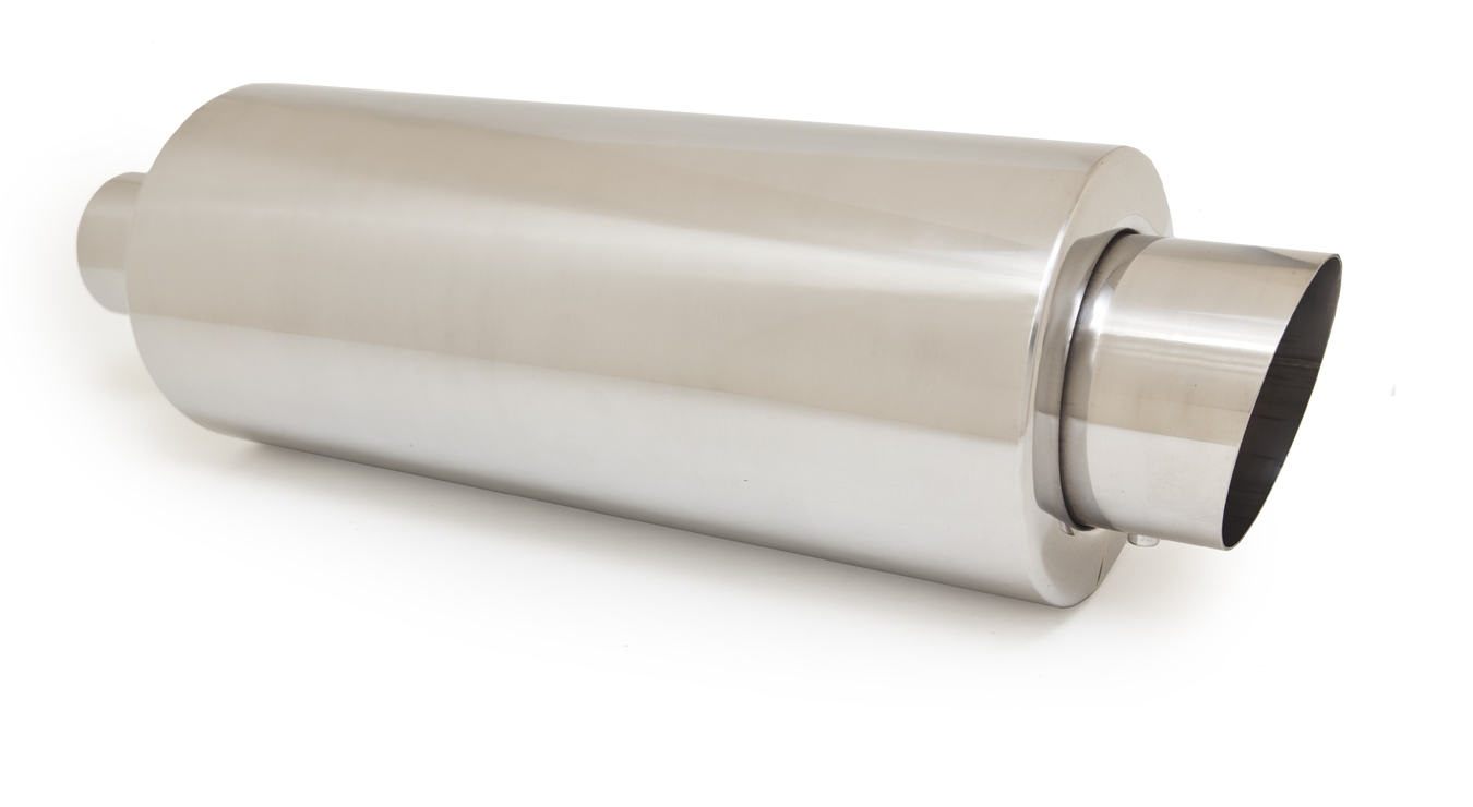 Ractive Round Tig Welded Muffler with 3.5 in. Slant Cut Tip and Silencer