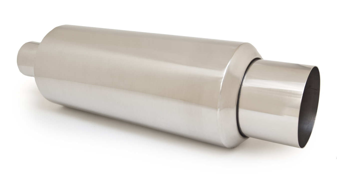 Ractive Round Tig Welded Muffler with 4 in. Straight Cut Tip and Silencer