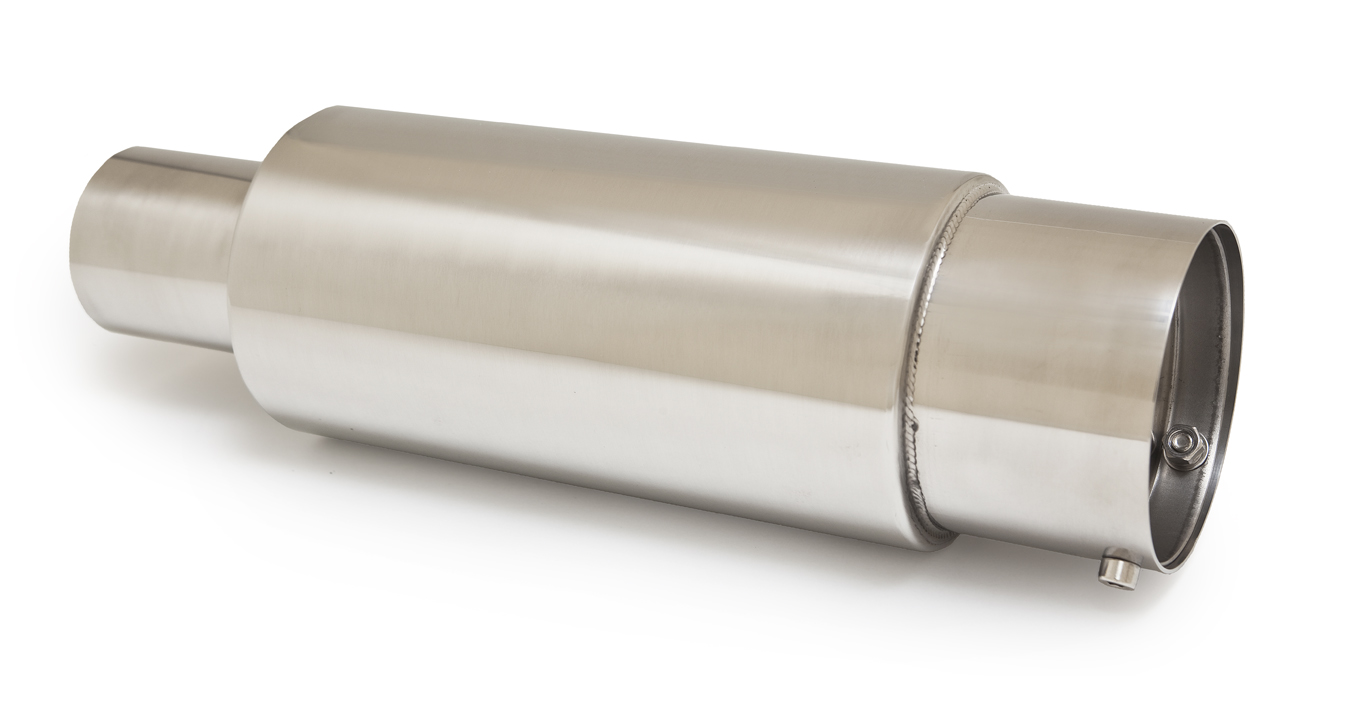 Ractive Round Muffler with 3.5 in. Straight Cut Tip and Silencer