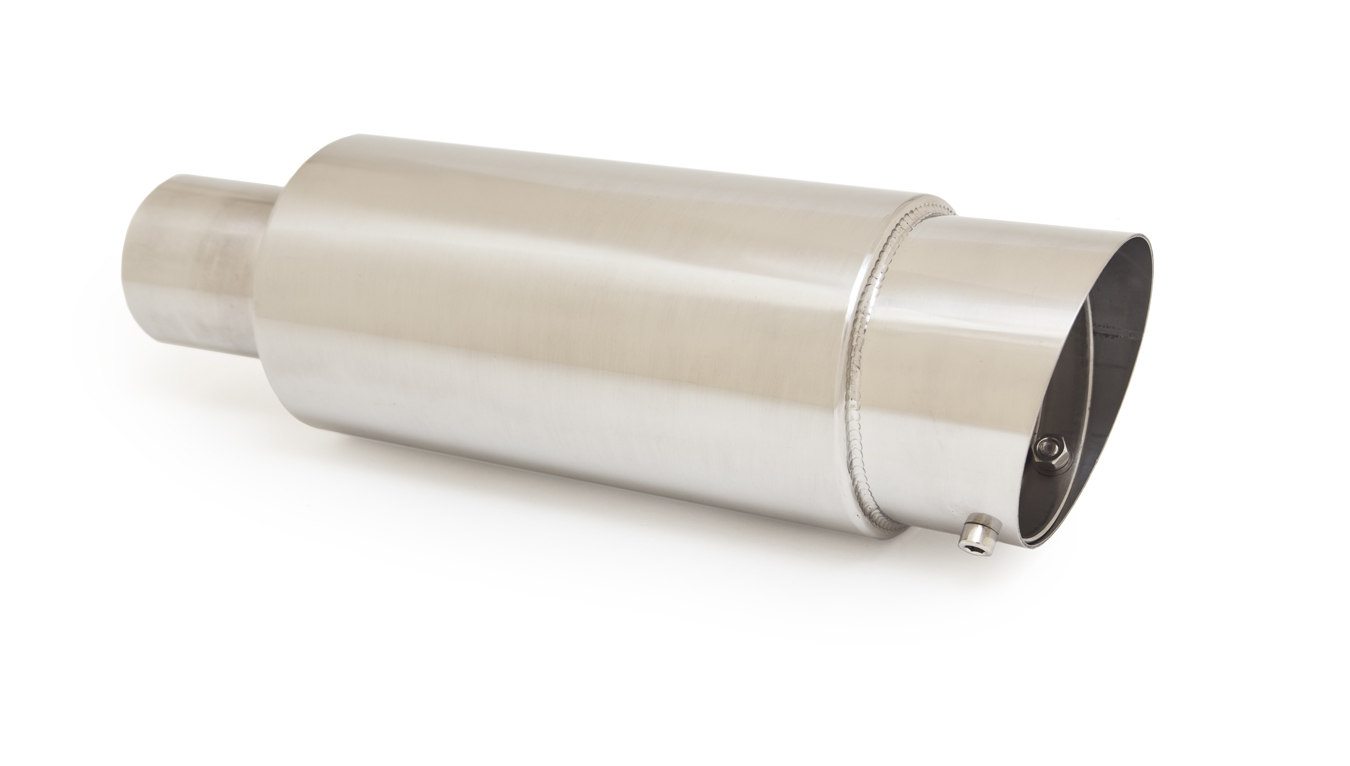 Ractive Round Muffler with 3.5 in. Slant Cut Tip and Silencer