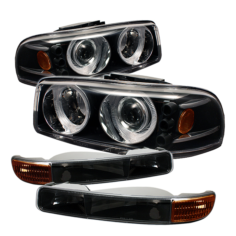 Gmc Sierra 1500 2500 3500 1999 2006 Projector Headlights W Bumper Lights Black By Spyder Auto Pro On Cd00 Set Am Bk