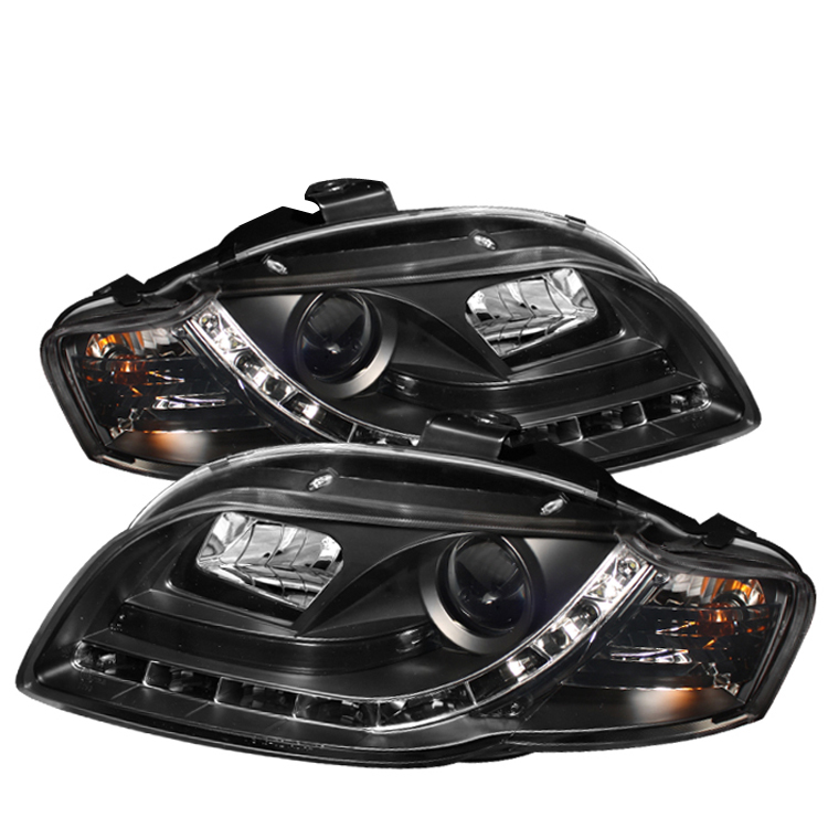 Audi A4 2006-2008  Black DRL LED Projector Headlights