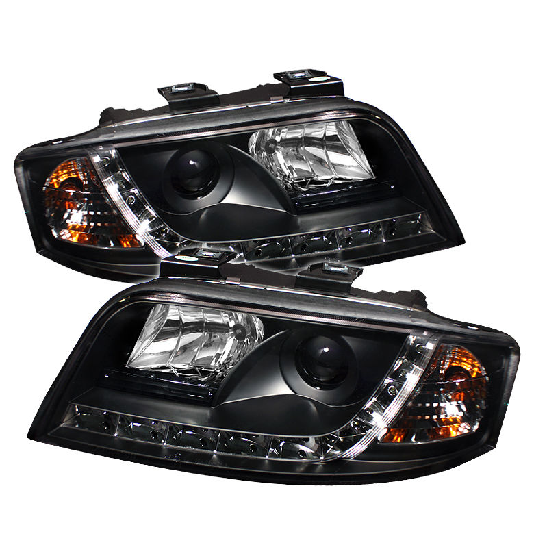 Audi A6 2002-2004  Black DRL LED Projector Headlights
