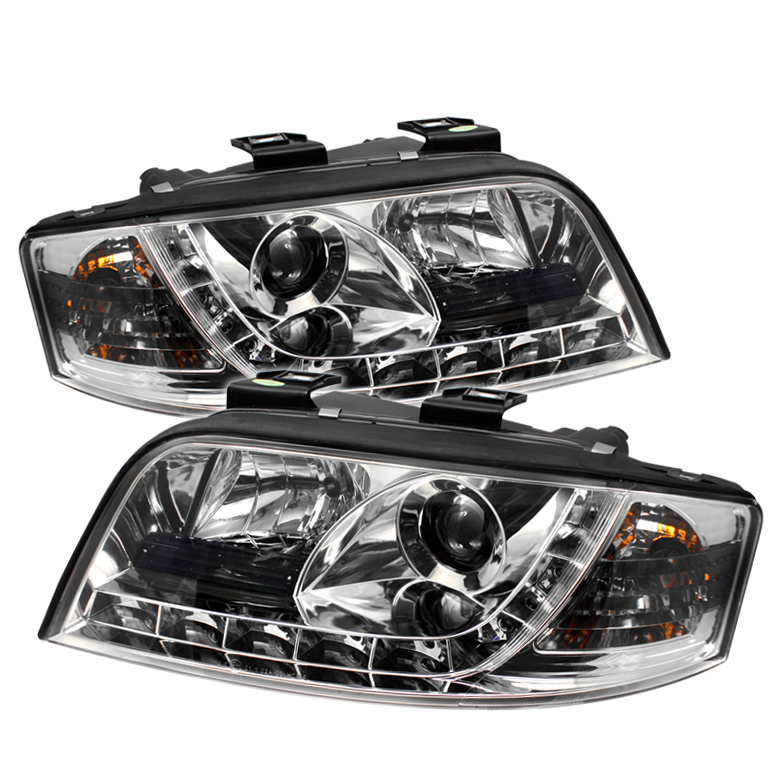 Audi A6 2002-2004  Chrome DRL LED Projector Headlights