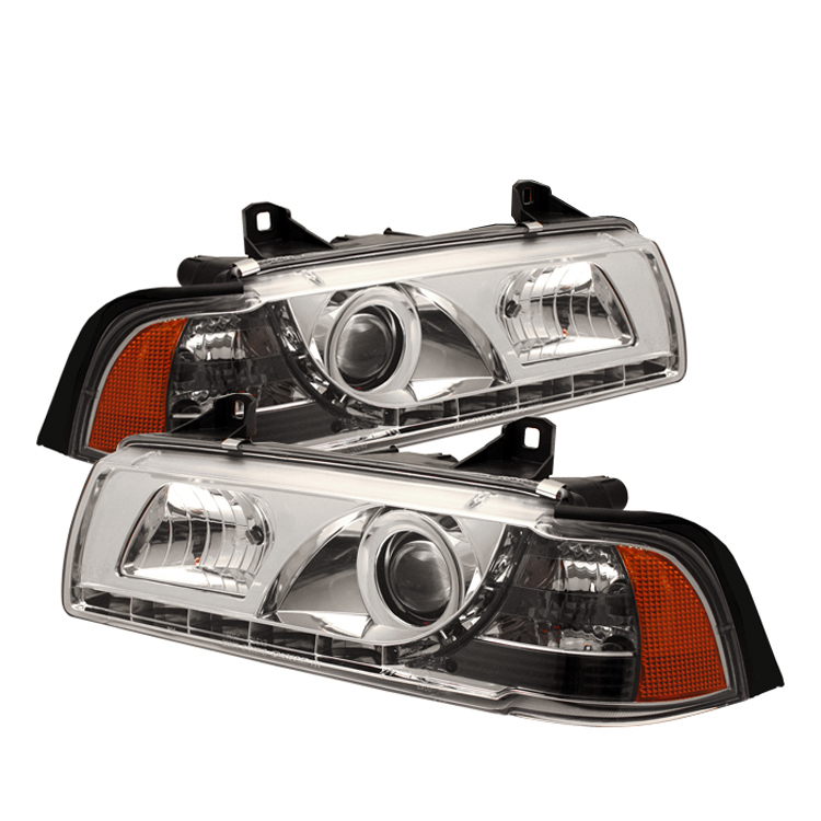 Bmw 3 Series 1992-1998 2DR Chrome 1pc DRL LED Projector Headlights