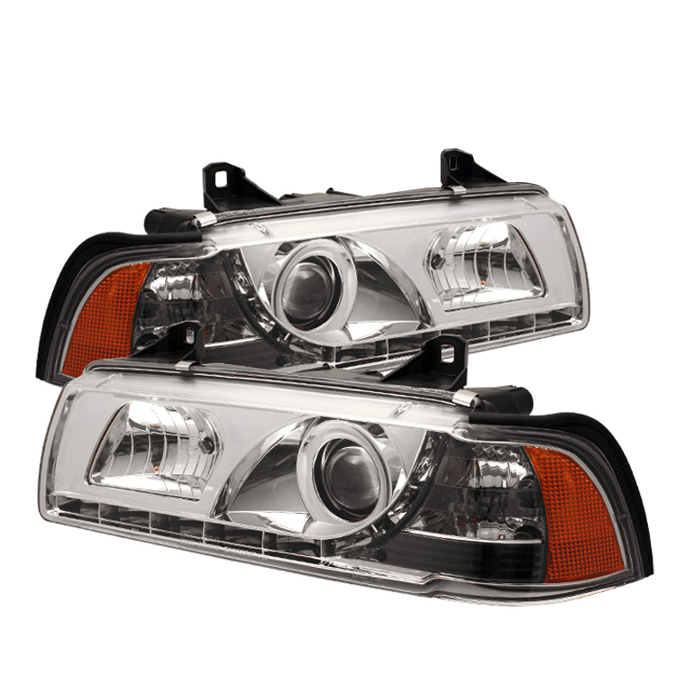 Bmw 3 Series 1992-1998 4DR Chrome 1pc DRL LED Projector Headlights