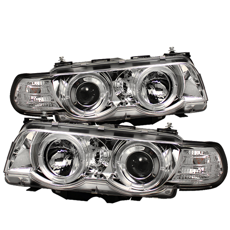 Bmw 7 Series 1999-2001  Chrome Halo Amber Projector Headlights