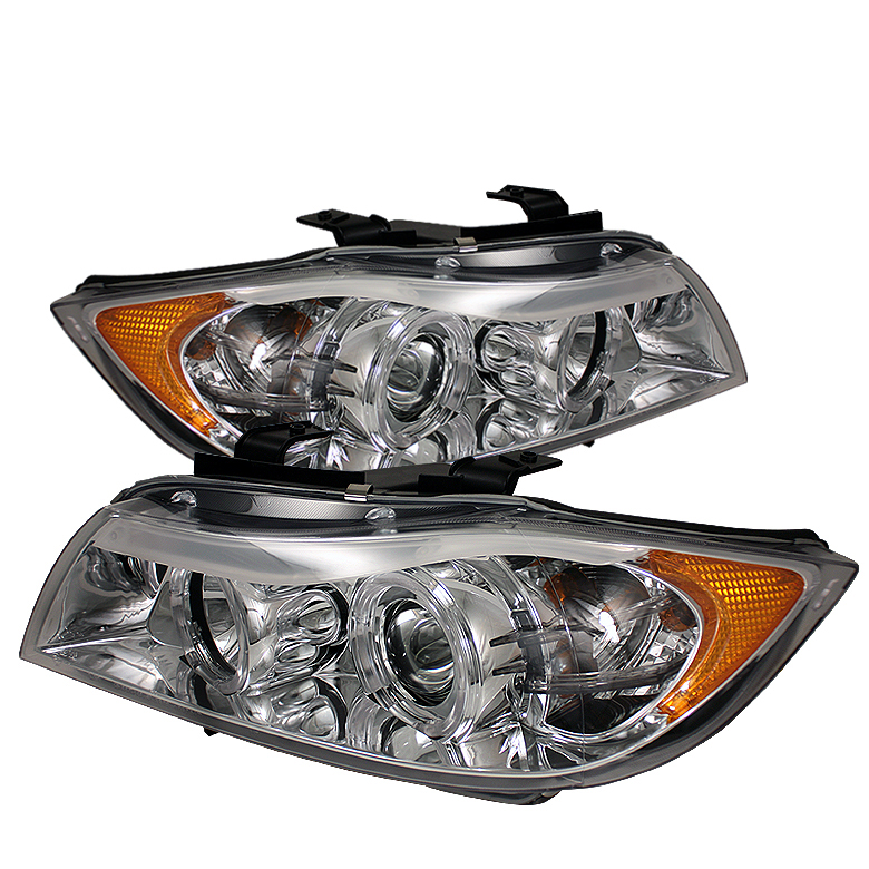 Bmw 3 Series 2006-2008 4DR Chrome Halo Amber Projector Headlights