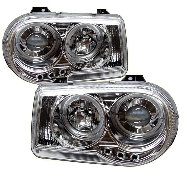 Chrysler 300C  2005-2010 Halo LED Projector Headlights  - Chrome