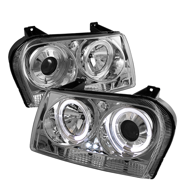Chrysler 300C (300 Only) 2008-2010 Halo LED Projector Headlights  - Chrome