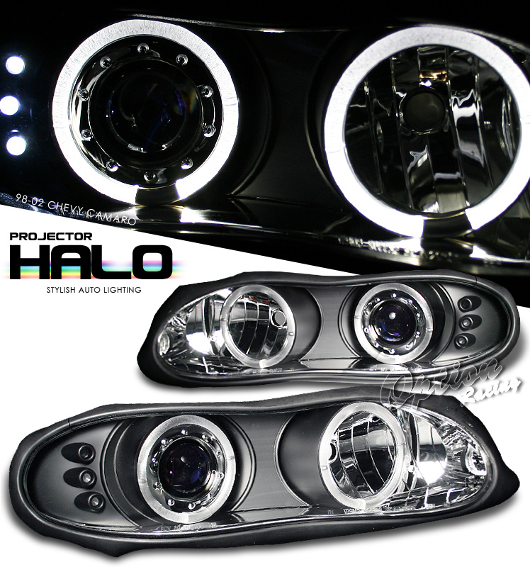 Chevrolet Camaro  1998-2002 Halo LED Projector Headlights  - Black
