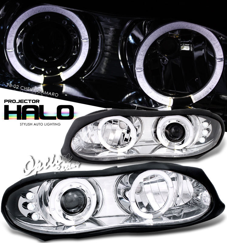 Chevrolet Camaro  1998-2002 Halo LED Projector Headlights  - Chrome