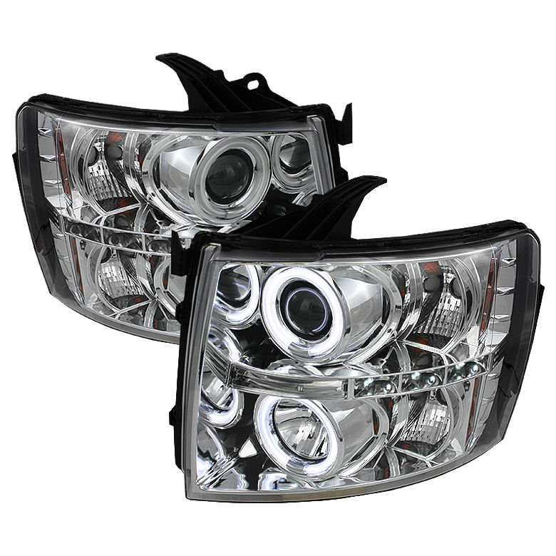 Chevrolet Silverado 1500/2500/3500 2007-2011 Ccfl LED Projector Headlights  - Chrome