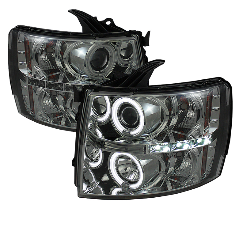 Chevrolet Silverado 1500/2500/3500 2007-2011 Ccfl LED Projector Headlights  - Smoke