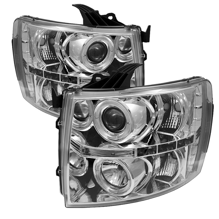 Chevrolet Silverado 1500/2500/3500 2007-2011 Halo LED Projector Headlights  - Chrome