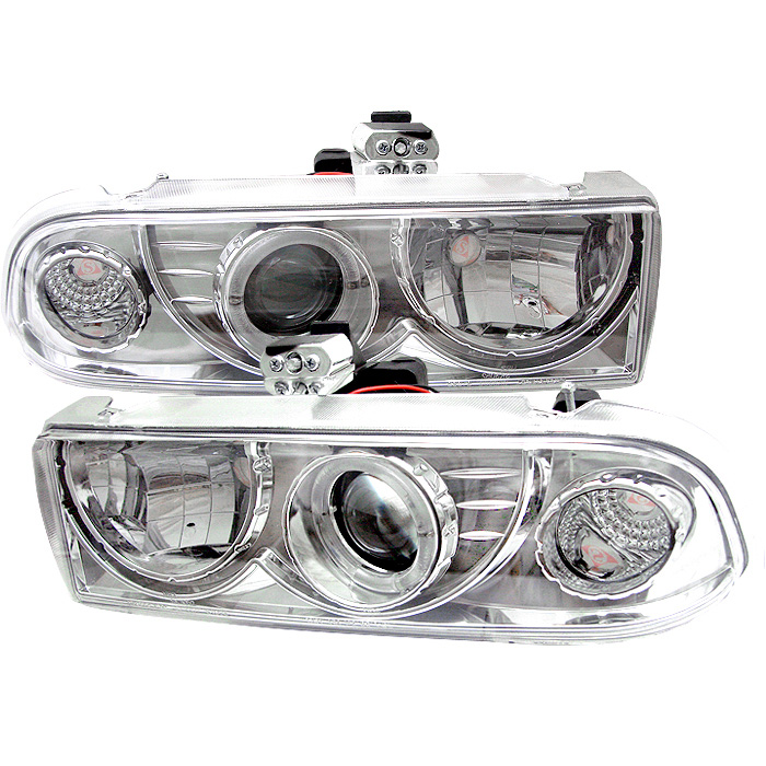 Chevrolet S10 Pickup  1998-2004 Halo Projector Headlights  - Chrome