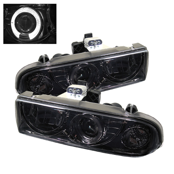 Chevrolet S10 Pickup  1998-2004 Halo Projector Headlights  - Smoke