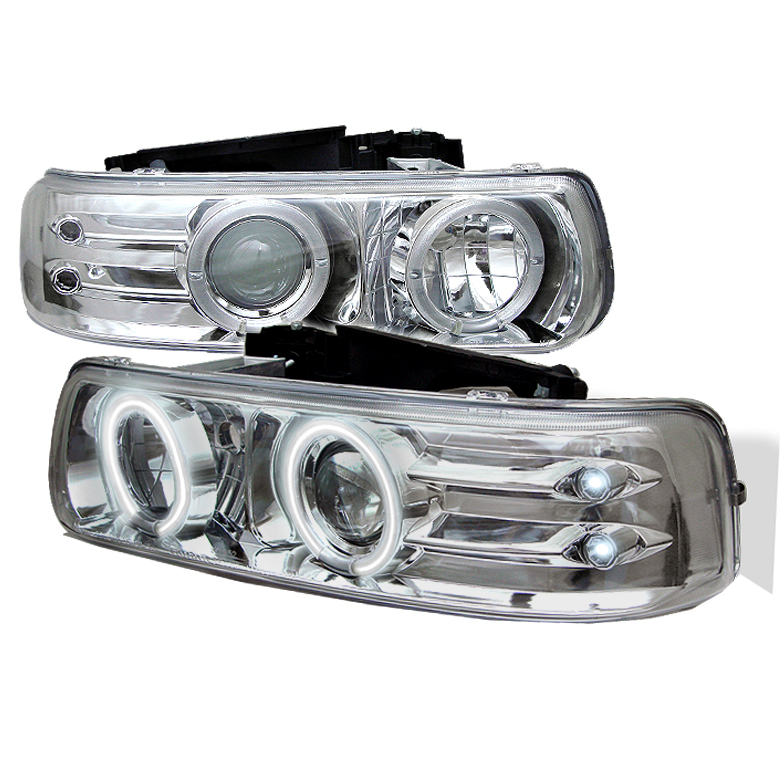 Chevrolet Silverado 1500/2500/3500 1999-2002 Ccfl LED Projector Headlights  - Chrome