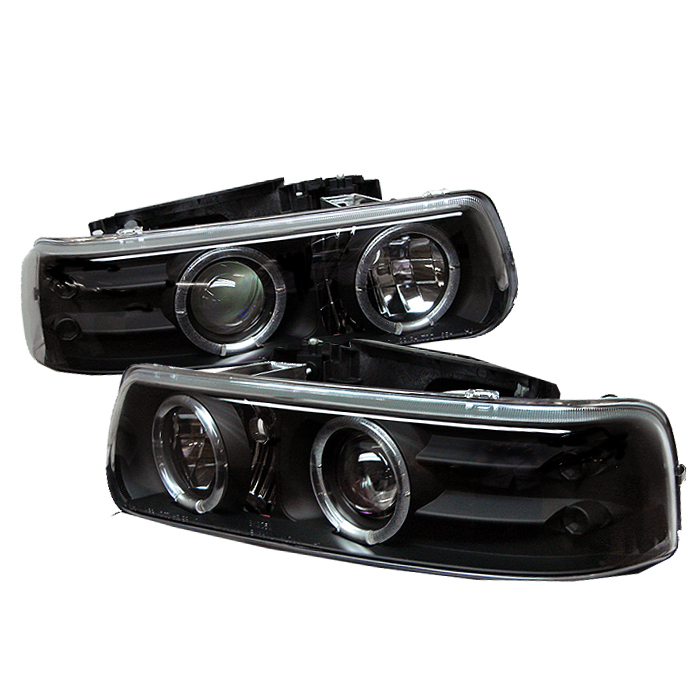Chevrolet Silverado 1500/2500/3500 1999-2002 Halo LED Projector Headlights  - Black